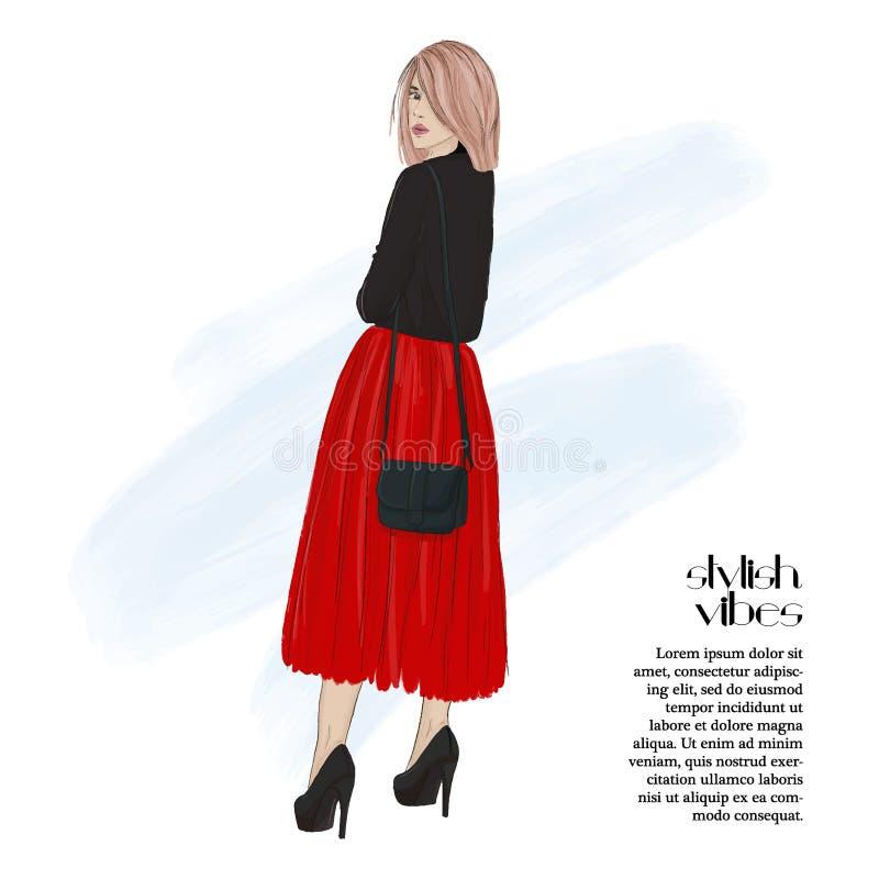 Tarjeta de felicitación hermosa del día de fiesta de la mujer del vector Ejemplo de la moda de la Navidad Cartel del estilo del A stock de ilustración