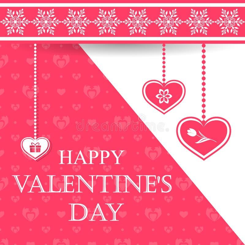Tarjeta de felicitación hermosa del día de tarjeta del día de San Valentín con los copos de nieve y los corazones colgantes con s stock de ilustración