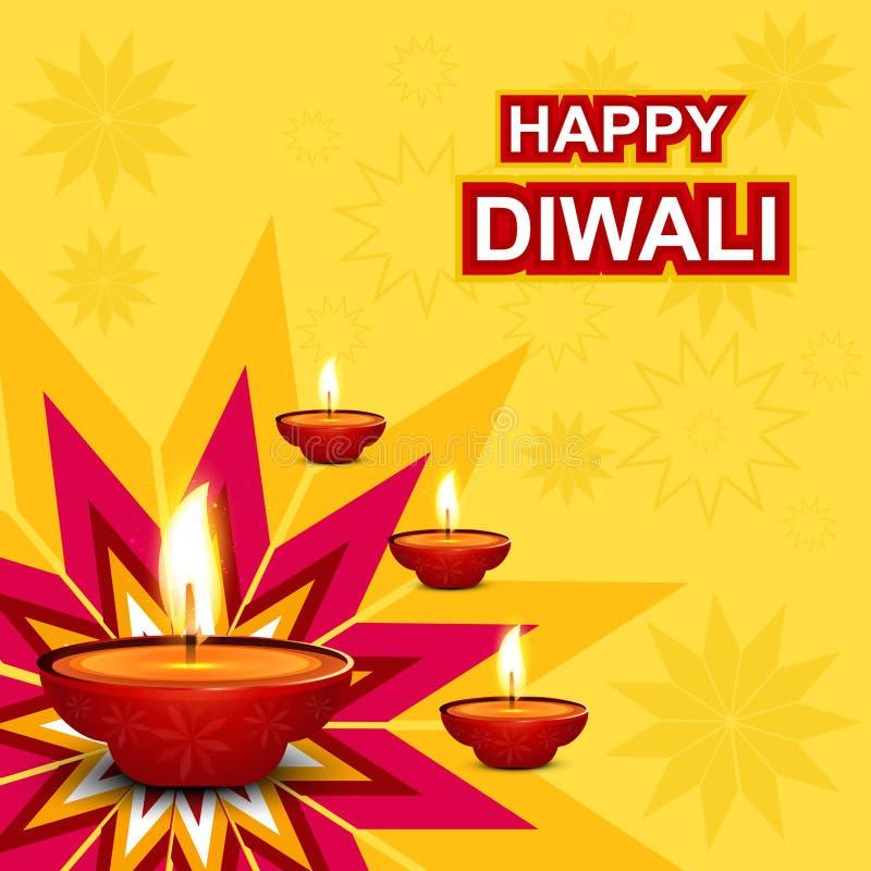 Tarjeta de felicitación hermosa del diwali stock de ilustración