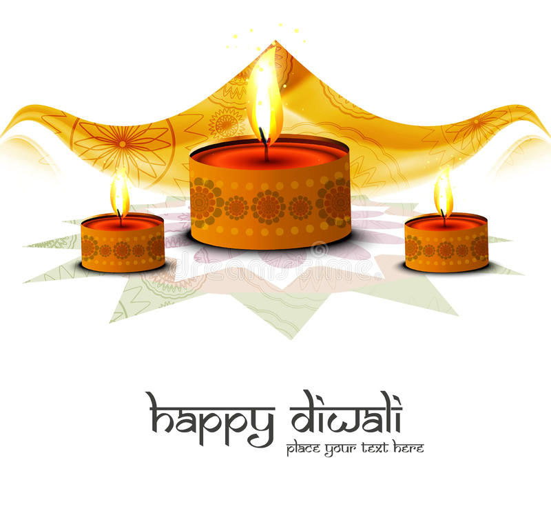 Tarjeta de felicitación hermosa del festival del diwali feliz stock de ilustración