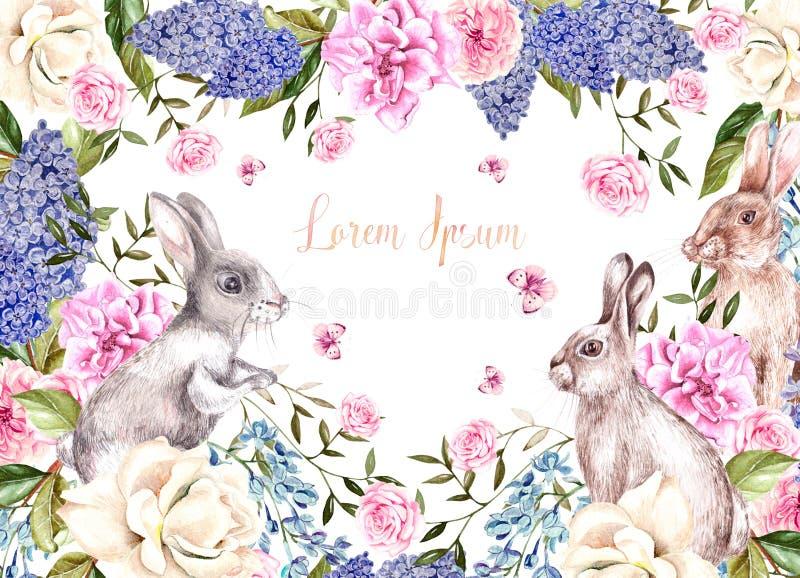 Tarjeta de felicitación hermosa de la acuarela con los conejitos de pascua Con las flores de rosas, de lilas, de la peonía y de m ilustración del vector