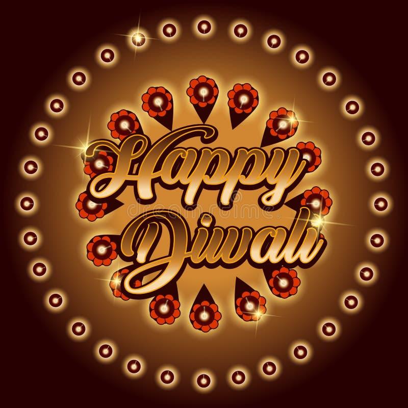 Tarjeta de felicitación hermosa para el festival de la celebración del diwali con diya colgante adornado stock de ilustración
