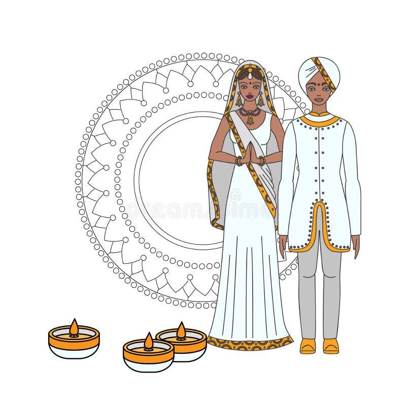 Tarjeta de felicitación hindú del día de fiesta con los elementos indios Festival ligero de la India Diwali feliz Gente india de  stock de ilustración