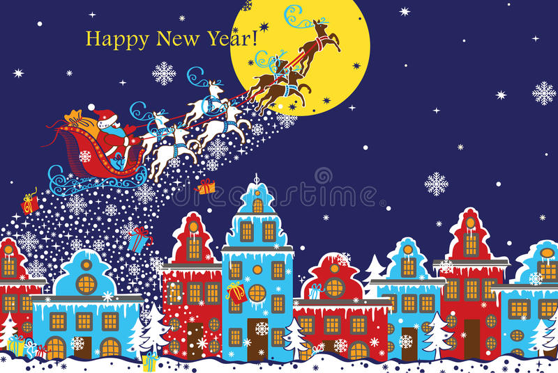 Tarjeta de felicitación horizontal del Año Nuevo Santa Claus que viene a la ciudad Vec libre illustration