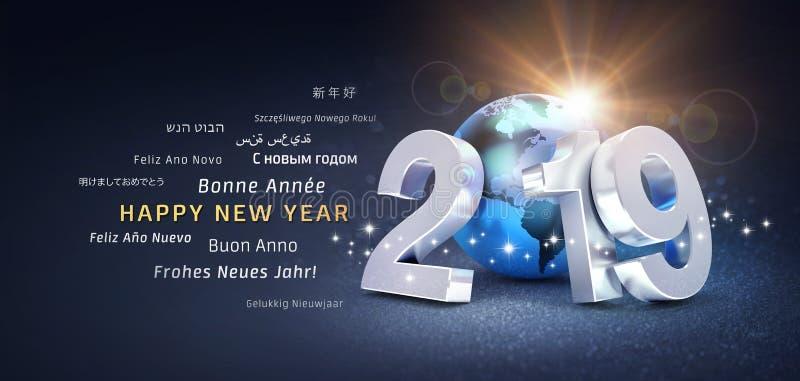 Tarjeta de felicitación internacional de la Feliz Año Nuevo 2019 stock de ilustración