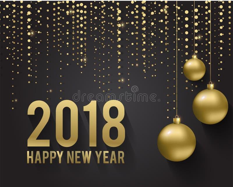 Tarjeta de felicitación, invitación con la Feliz Año Nuevo 2018 y la Navidad Bolas metálicas de la Navidad del oro, decoración, r ilustración del vector