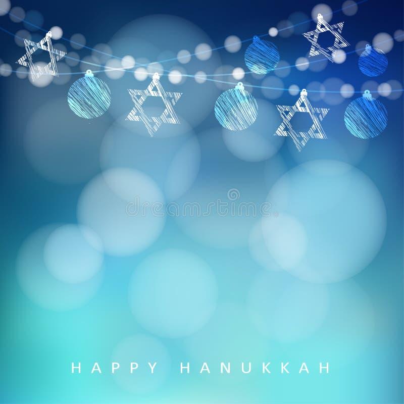 Tarjeta de felicitación judía de Hannukah del día de fiesta con la guirnalda de luces y de estrellas judías, stock de ilustración