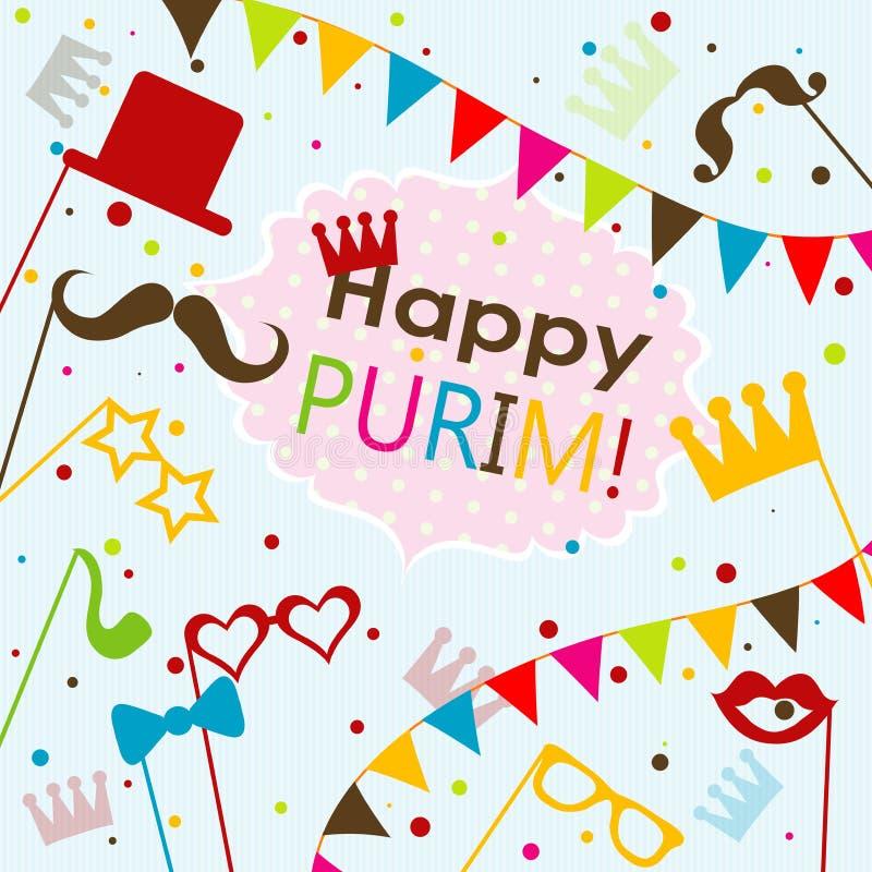 Tarjeta de felicitación judía de Purim del día de fiesta de la plantilla, vector stock de ilustración