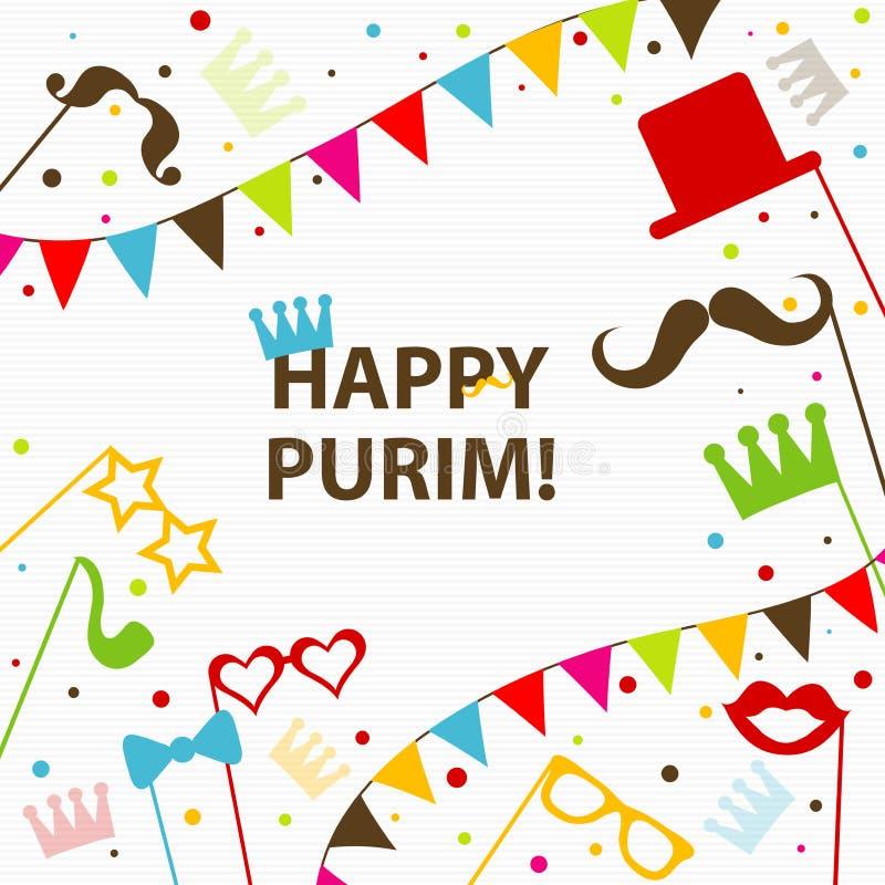 Tarjeta de felicitación judía de Purim del día de fiesta de la plantilla, corona, vector stock de ilustración