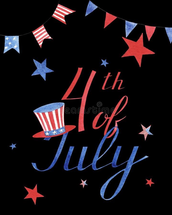 Tarjeta de felicitación de la acuarela con las estrellas y el sombrero al Día de la Independencia de América en fondo negro imagen de archivo
