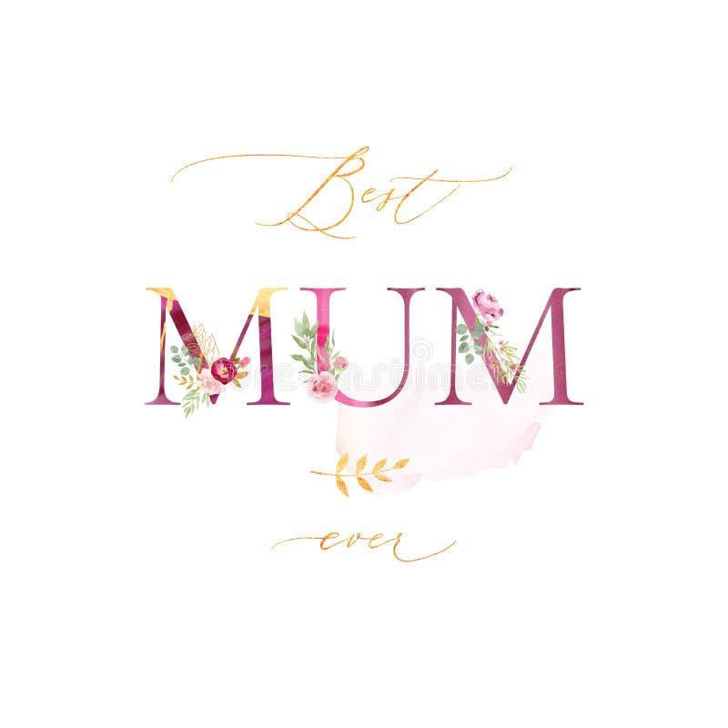 Tarjeta de felicitación de la acuarela el día de madre stock de ilustración