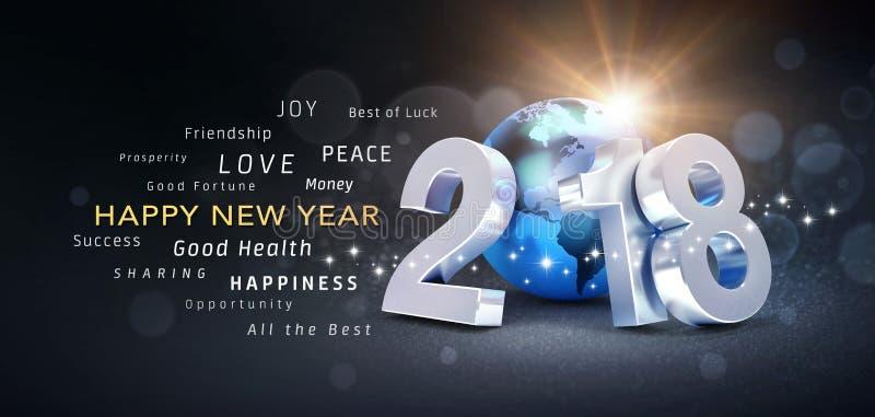 Tarjeta 2018 de felicitación de la Feliz Año Nuevo ilustración del vector