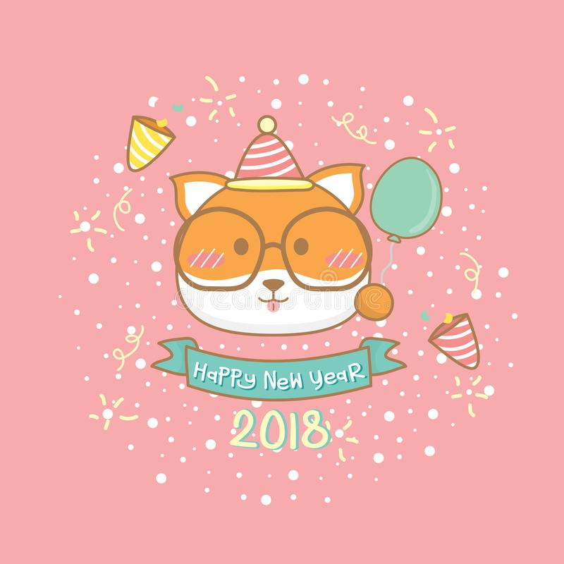 Tarjeta de felicitación de la Feliz Año Nuevo 2018 ilustración del vector