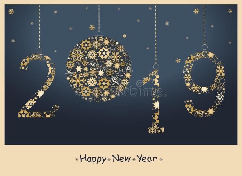 Tarjeta de felicitación de la Feliz Año Nuevo 2019 stock de ilustración