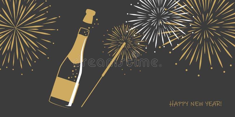 Tarjeta de felicitación de la Feliz Año Nuevo con champán del fuego artificial y la bengala del partido ilustración del vector
