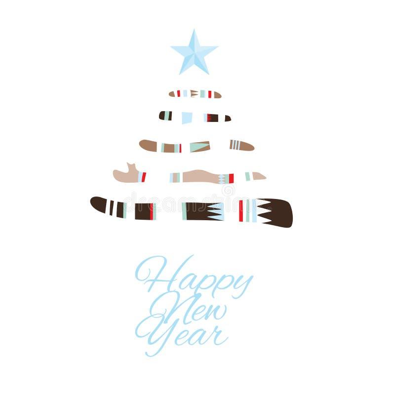 Tarjeta de felicitación de la Feliz Año Nuevo con el árbol de navidad en estilo del boho libre illustration