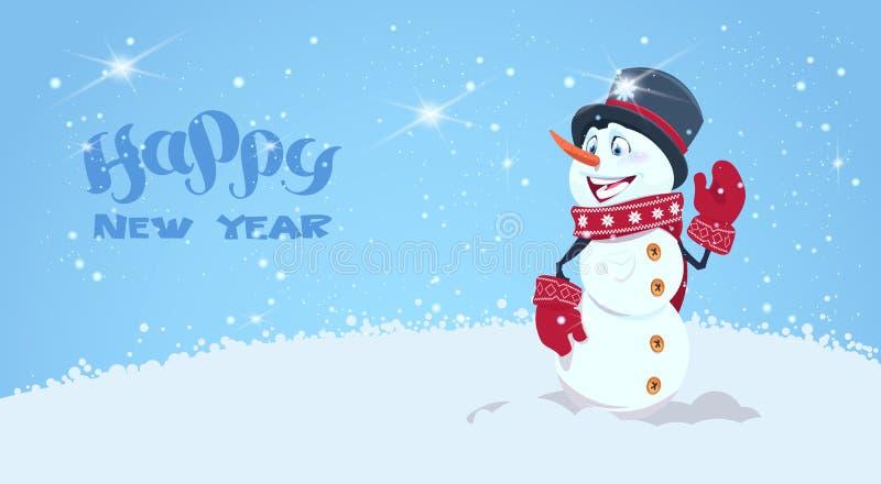 Tarjeta de felicitación de la Feliz Año Nuevo con el muñeco de nieve en la decoración del día de fiesta del sombrero y de la bufa libre illustration
