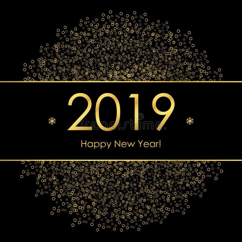 Tarjeta de felicitación de la Feliz Año Nuevo 2019 con las decoraciones y los copos de nieve del círculo del oro Plantilla para e ilustración del vector