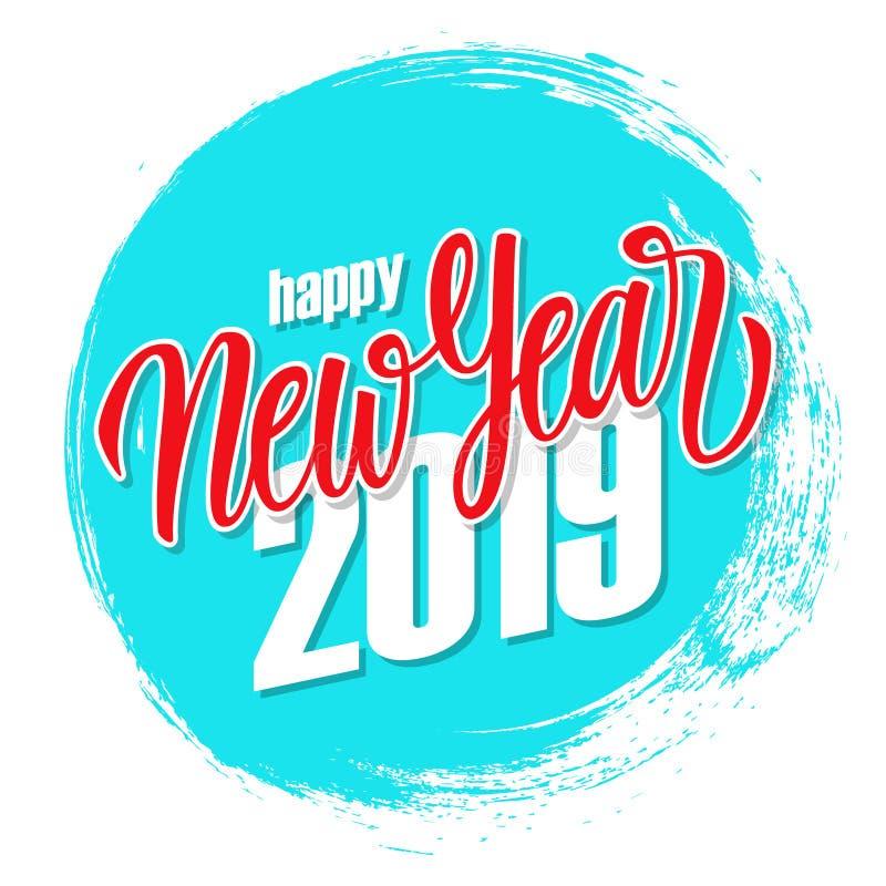 Tarjeta 2019 de felicitación de la Feliz Año Nuevo con las letras exhaustas de la mano y el fondo azul del movimiento del cepillo ilustración del vector