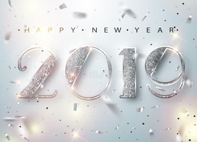 Tarjeta 2019 de felicitación de la Feliz Año Nuevo con los números de plata y marco del confeti en el fondo blanco Ilustración de stock de ilustración