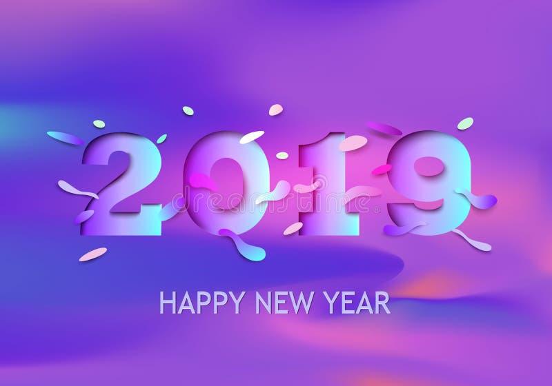 Tarjeta de felicitación de la Feliz Año Nuevo 2019 con números olográficos en un fondo púrpura de la pendiente Vector Papel color ilustración del vector