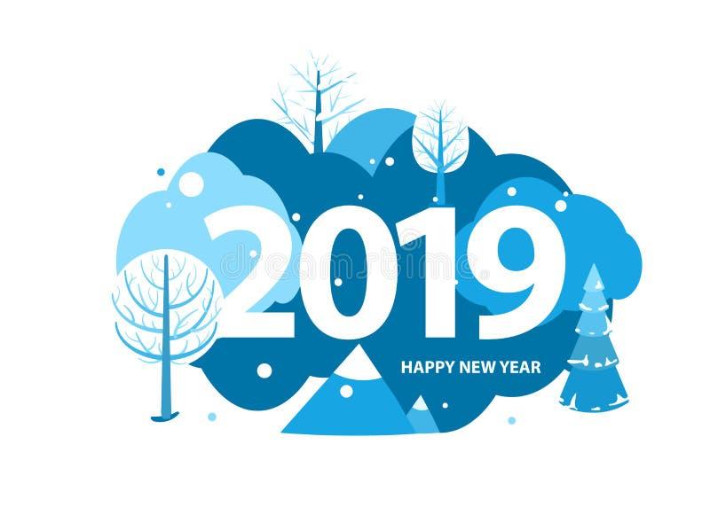 Tarjeta de felicitación de la Feliz Año Nuevo 2019 Concepto del paisaje de las vacaciones de invierno con los árboles, las montañ stock de ilustración