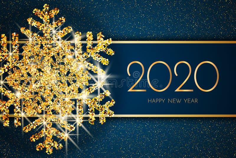 Tarjeta de felicitación de la Feliz Año Nuevo 2020 Copo de nieve y brillo del oro en fondo azul marino Texto de la Feliz Año Nuev stock de ilustración