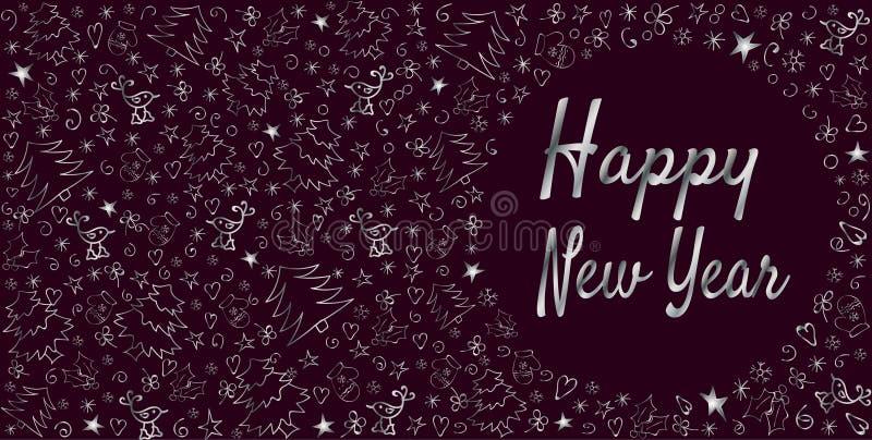 Tarjeta de felicitación de la Feliz Año Nuevo Decoración exhausta de la mano linda del tono plateado ilustración del vector