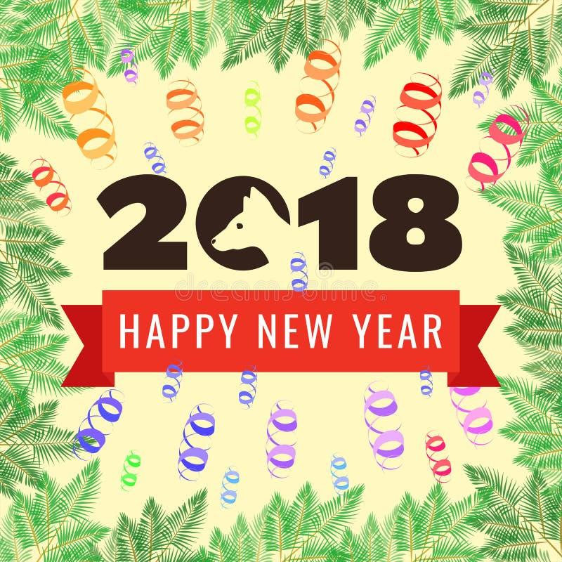 Tarjeta 2018 de felicitación de la Feliz Año Nuevo Año del perro stock de ilustración