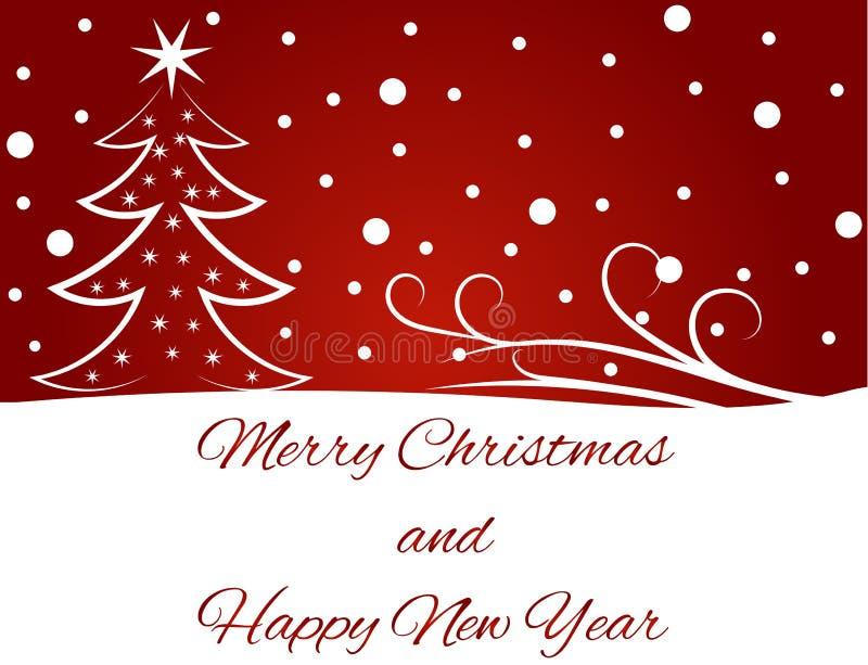 Tarjeta de felicitación de la Feliz Año Nuevo en rojo libre illustration