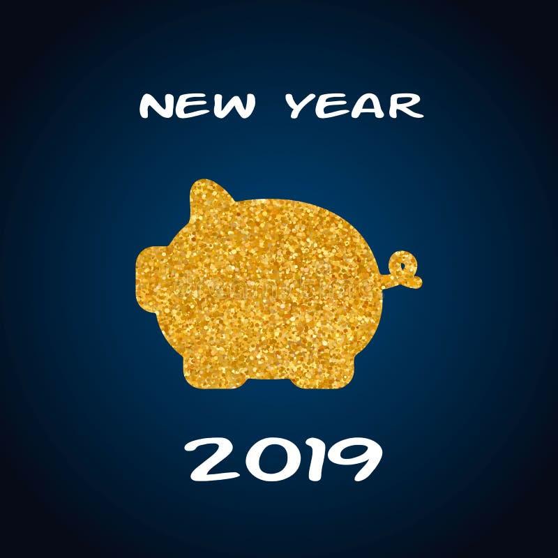 Tarjeta de felicitación de la Feliz Año Nuevo 2019 Fondo azul de la celebración con el cerdo del oro y lugar para su texto Ilustr ilustración del vector
