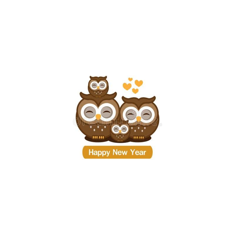 Tarjeta de felicitación de la Feliz Año Nuevo Historieta linda de la familia del búho stock de ilustración