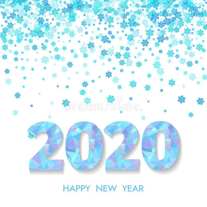 Tarjeta de felicitación de la Feliz Año Nuevo 2020 Números azules 2020 y copo de nieve que cae en fondo ligero ilustración del vector