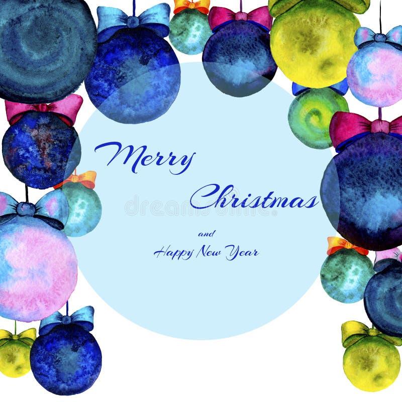 Tarjeta de felicitación de la Feliz Año Nuevo Tarjeta de Navidad Fondo de la celebración con las bolas de la Navidad watercolor stock de ilustración