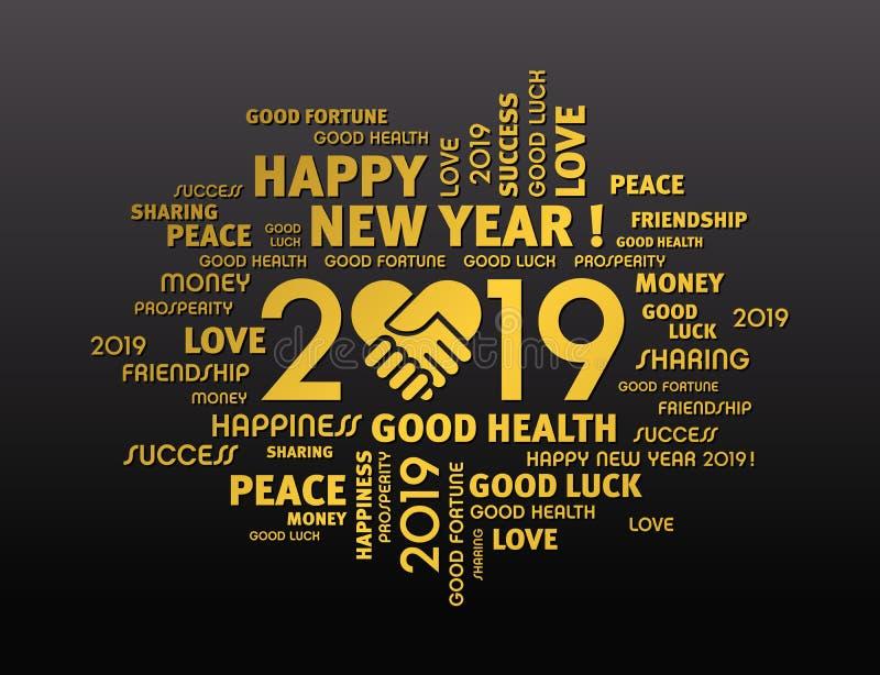 Tarjeta 2019 de felicitación de la Feliz Año Nuevo para compartir ilustración del vector