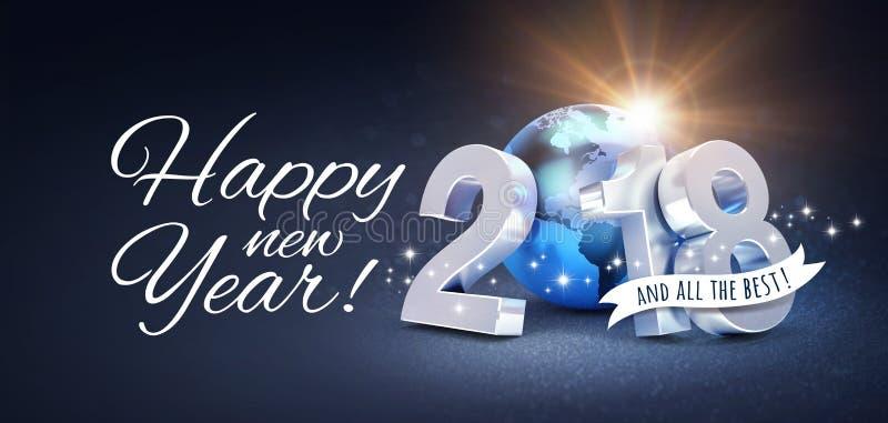 Tarjeta 2018 de felicitación de la Feliz Año Nuevo para todo el mejor stock de ilustración