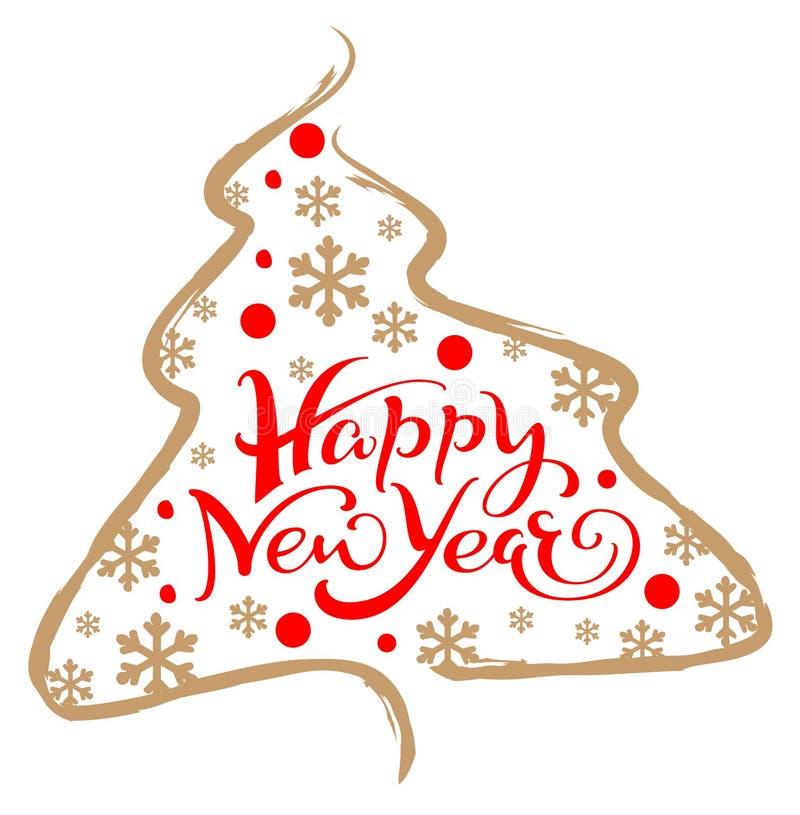Tarjeta de felicitación de la Feliz Año Nuevo que pone letras al texto Silueta y copos de nieve del árbol de pino de la Navidad ilustración del vector