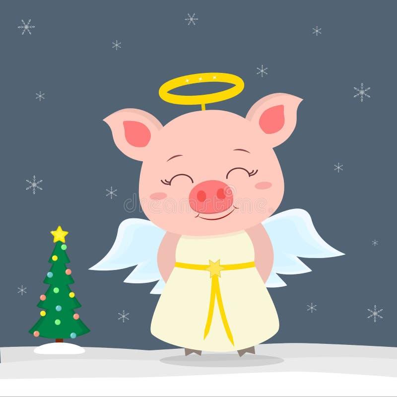 Tarjeta de felicitación de la Feliz Año Nuevo y de la Feliz Navidad Pequeños cerdos lindos en traje del ángel ?rbol de navidad en libre illustration