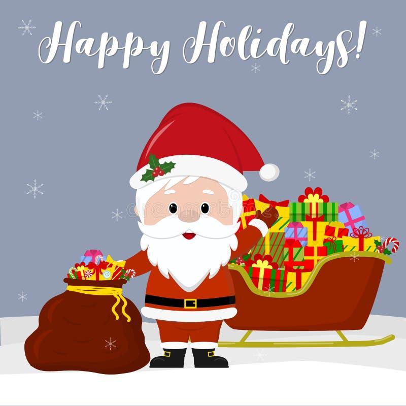 Tarjeta de felicitación de la Feliz Año Nuevo y de la Feliz Navidad Santa Claus linda sostiene un bolso rojo con un regalo Trineo stock de ilustración