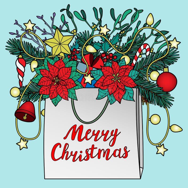 Tarjeta de felicitación de la Feliz Navidad libre illustration