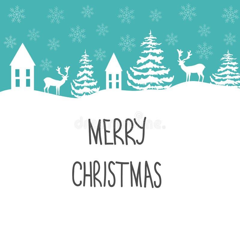 Tarjeta de felicitación de la Feliz Navidad Casas blancas de las escamas de la nieve de los abetos del reno en fondo azul Marco d ilustración del vector