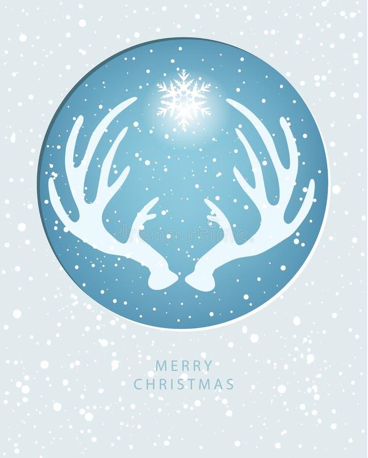 Tarjeta de felicitación de la Feliz Navidad con la asta stock de ilustración