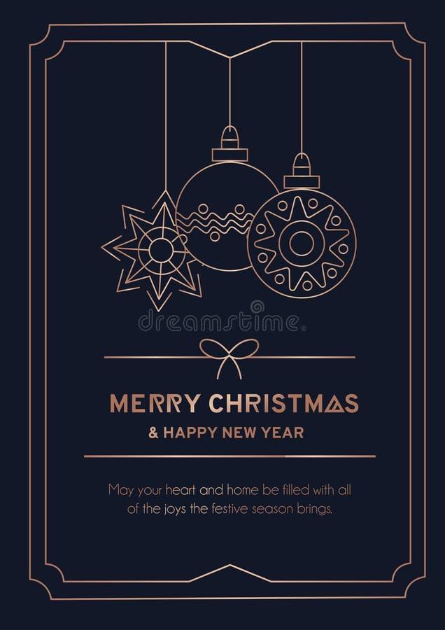 Tarjeta de felicitación de la Feliz Navidad con la bola de nieve del oro color de rosa, los copos de nieve y el fondo lineares de stock de ilustración