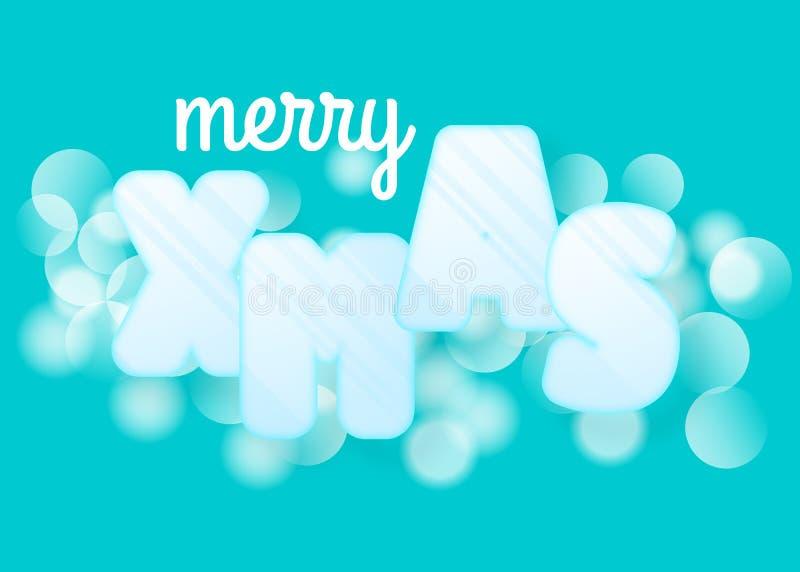 Tarjeta de felicitación de la Feliz Navidad con color azul del bokeh Ejemplo de la noche del día de fiesta en estilo futurista de stock de ilustración