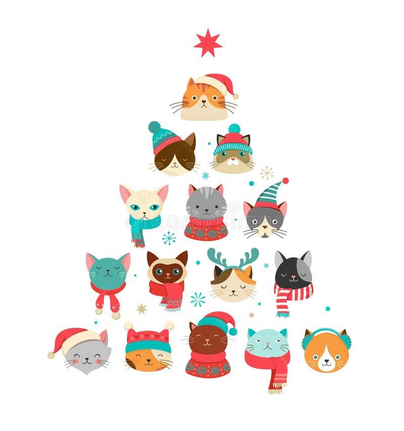 Tarjeta de felicitación de la Feliz Navidad con el árbol lindo de Navidad con el headsn de los gatos ilustración del vector
