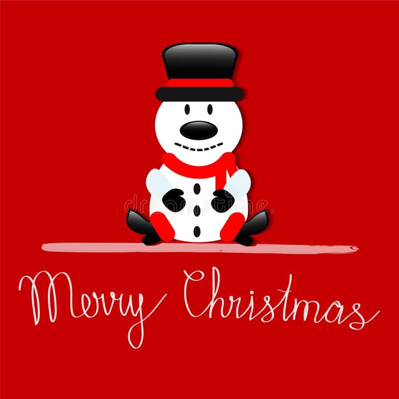 Tarjeta de felicitación de la Feliz Navidad con el muñeco de nieve que se sienta en backgr rojo libre illustration