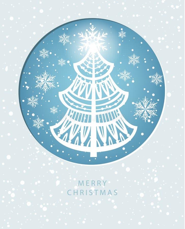 Tarjeta de felicitación de la Feliz Navidad con el pino-árbol libre illustration