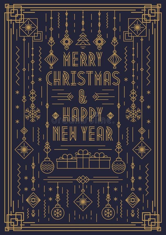 Tarjeta de felicitación de la Feliz Navidad con la línea color oro del art déco del juguete del Año Nuevo del estilo libre illustration