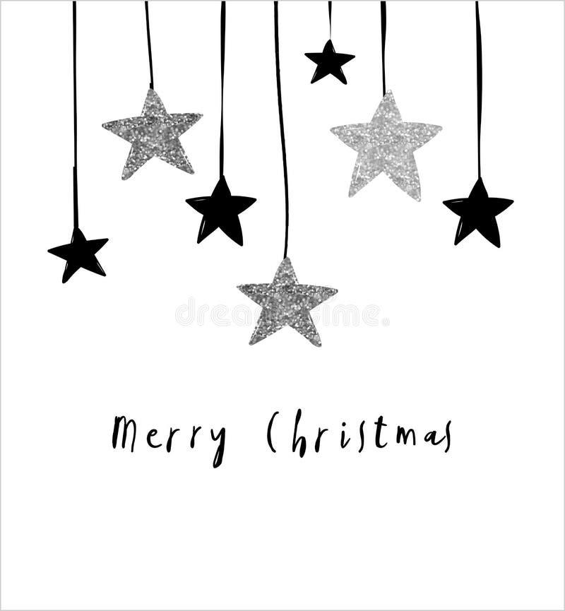 Tarjeta de felicitación de la Feliz Navidad con las estrellas de la ejecución stock de ilustración