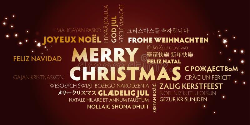 Tarjeta de felicitación de la Feliz Navidad con las letras de oro en diverso l ilustración del vector